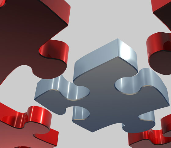Big red and silver puzzle pieces symbolizing loan modification.